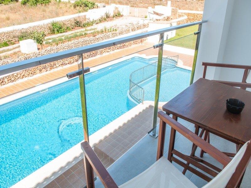 Vue sur la piscine Hostal La Palma Fornells
